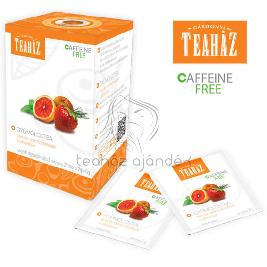 Gyümülcstea eper és narancs ízesítéssel és citromfűvel 40g*10db