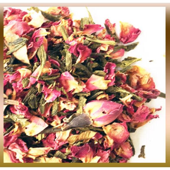 Rózsa és zöld sencha tea