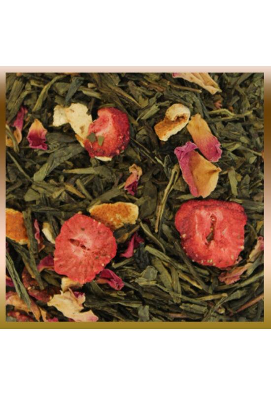 Eper-narancs ízesítésű, szálas zöld tea